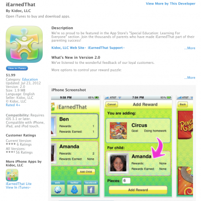 My new BFF: the I EARNED THAT app!
