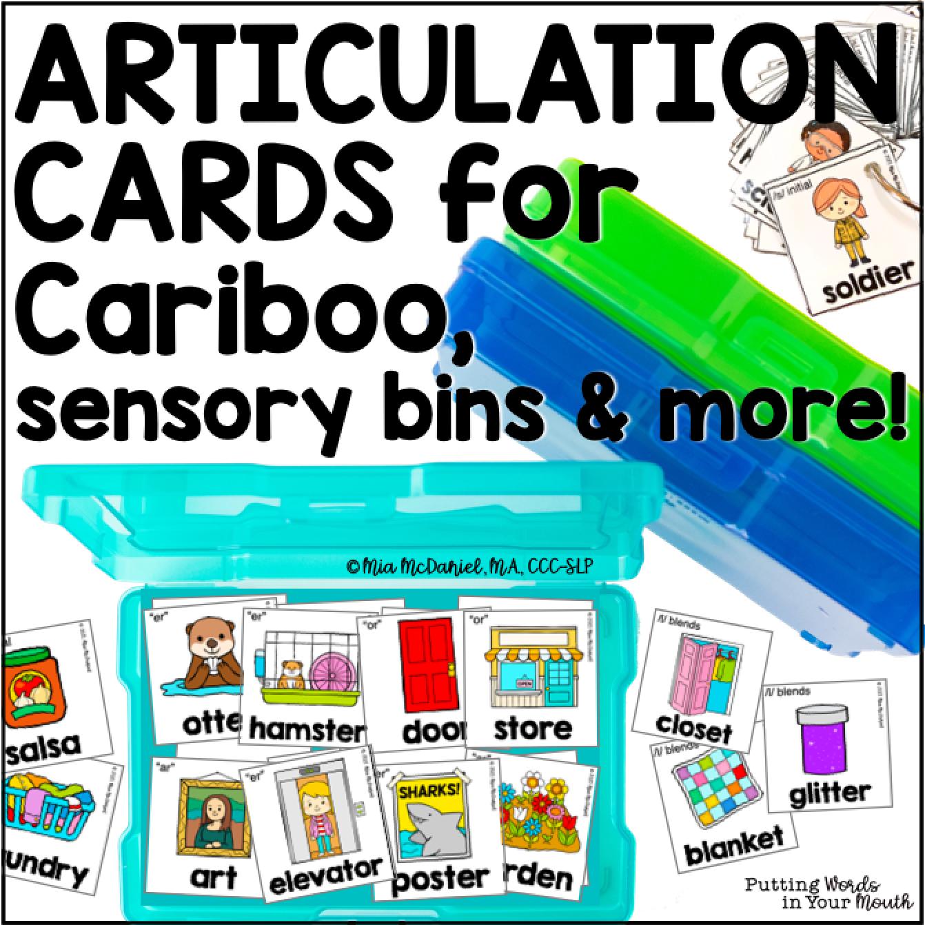 Articulation Cards for Cariboo, sensory bins & more